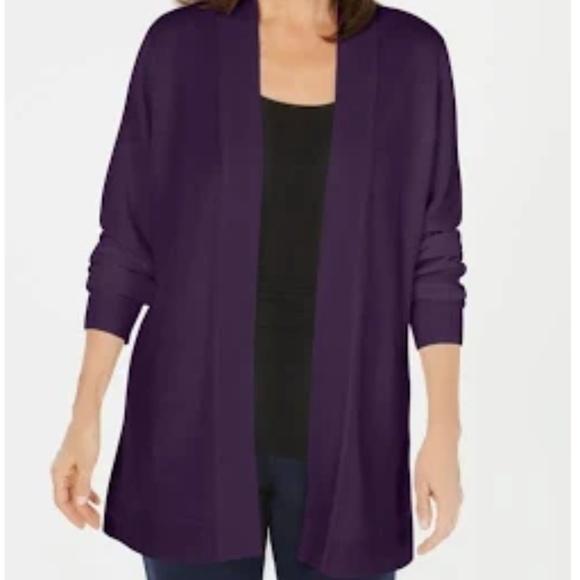 Karen Scott Sport Cozy Womens Jacket Purple Open Front Cardigan Top $49.50